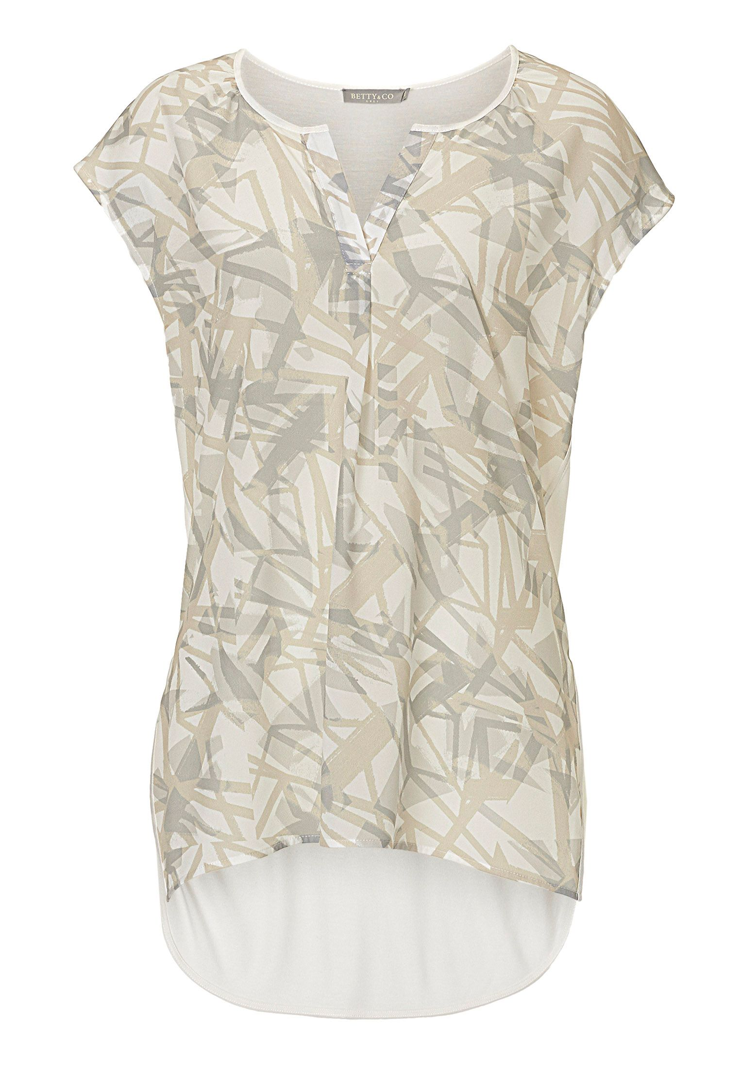 Betty & Co. Cap sleeved printed top, Cream