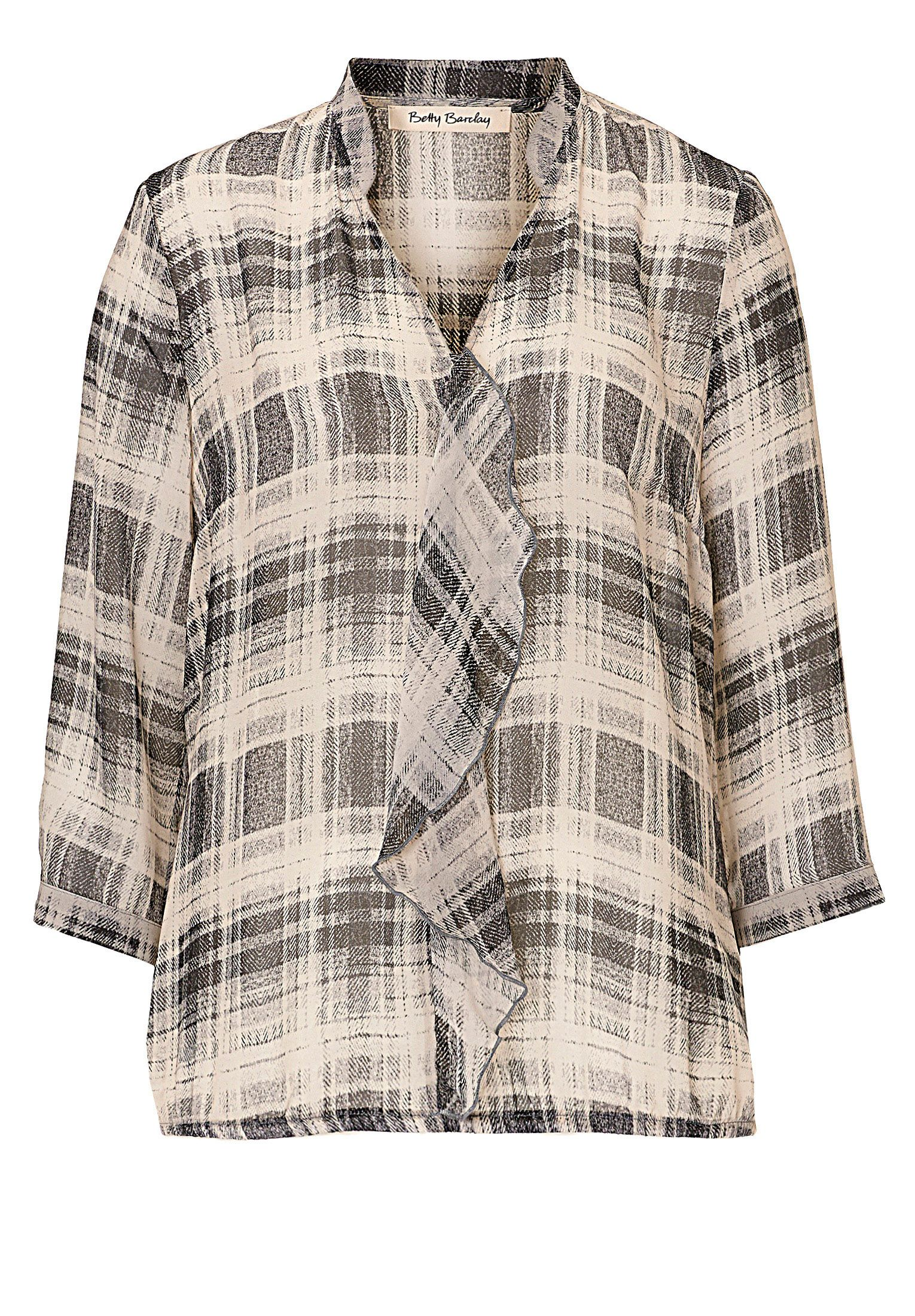 Betty Barclay Check chiffon blouse, White