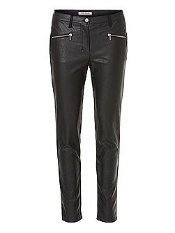 Faux leather and suede trousers