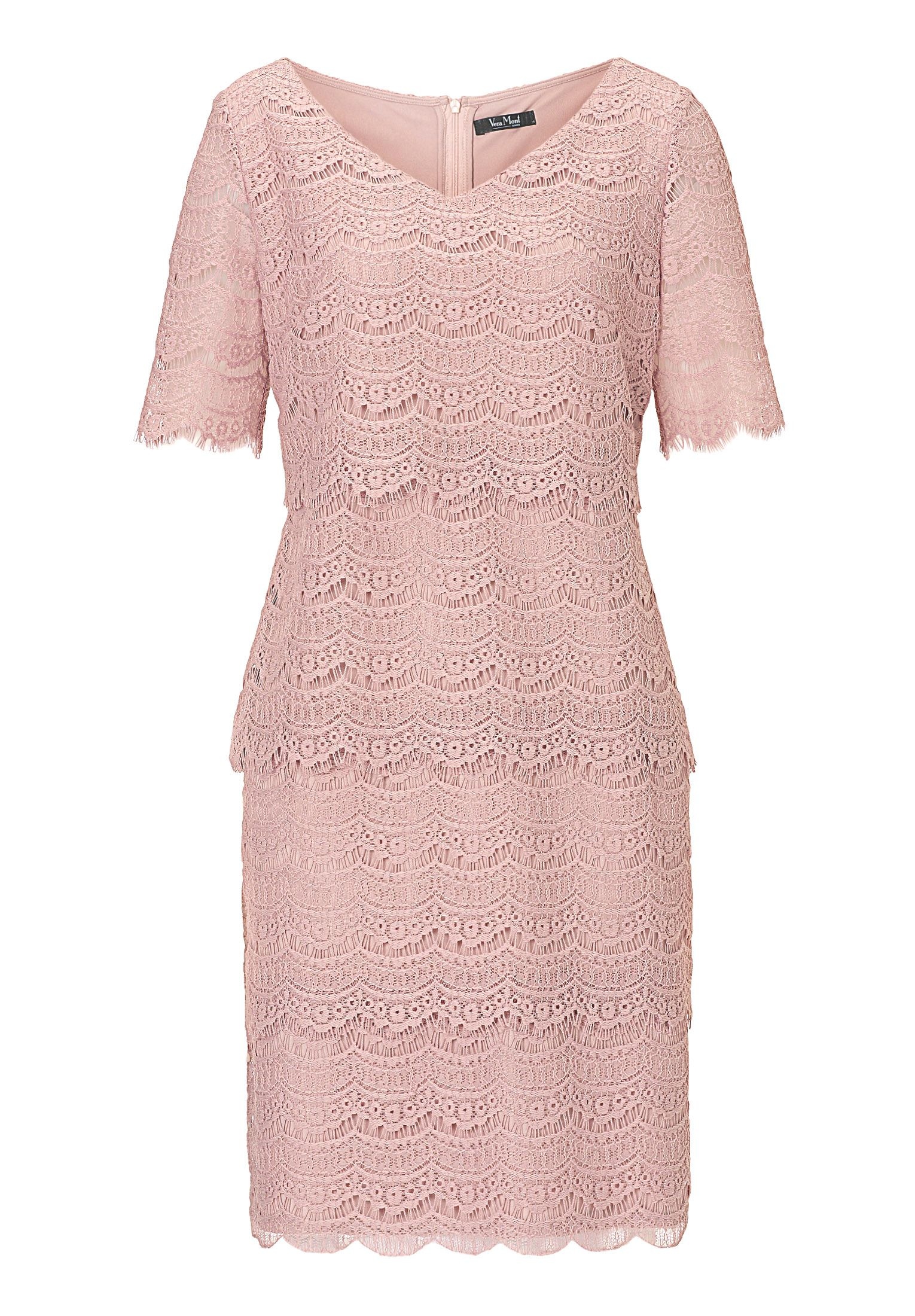 Vera Mont Tiered Lace Dress, Rose