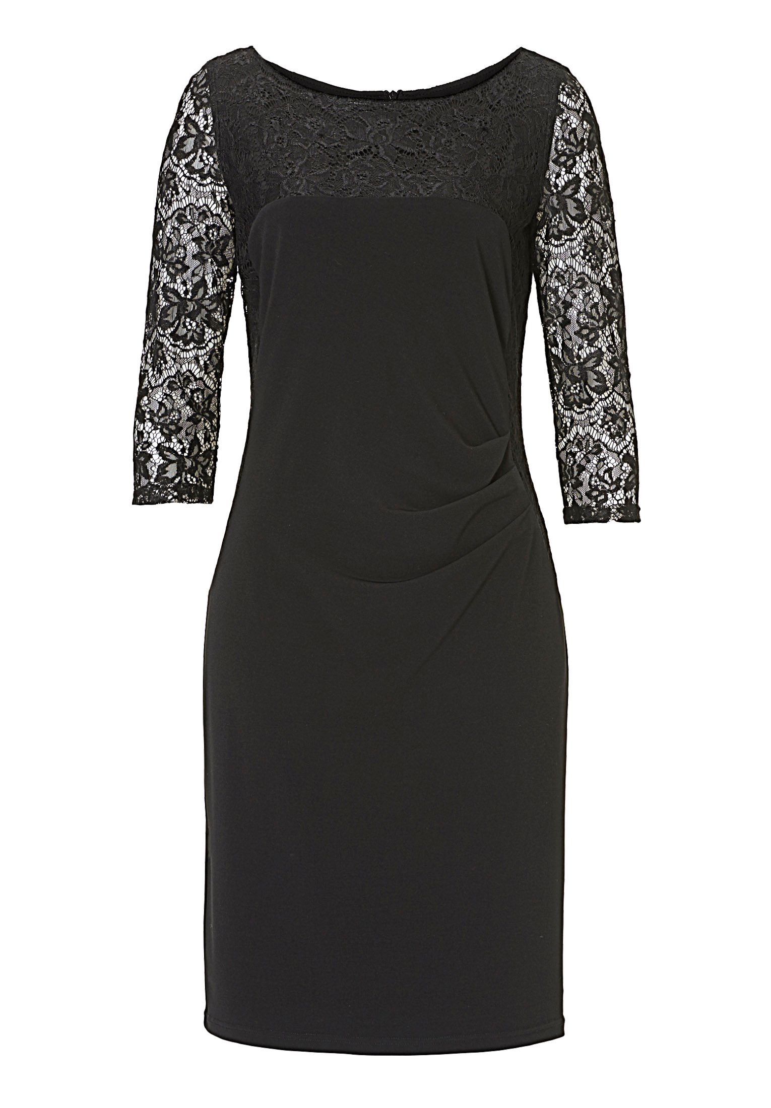 Vera Mont Lace panelled dress, Black