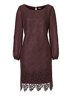 Web effect lace dress