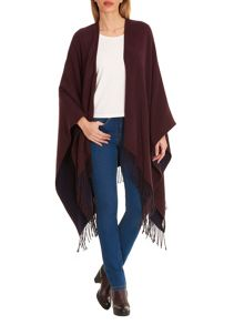 Betty Barclay Reversible fringed poncho