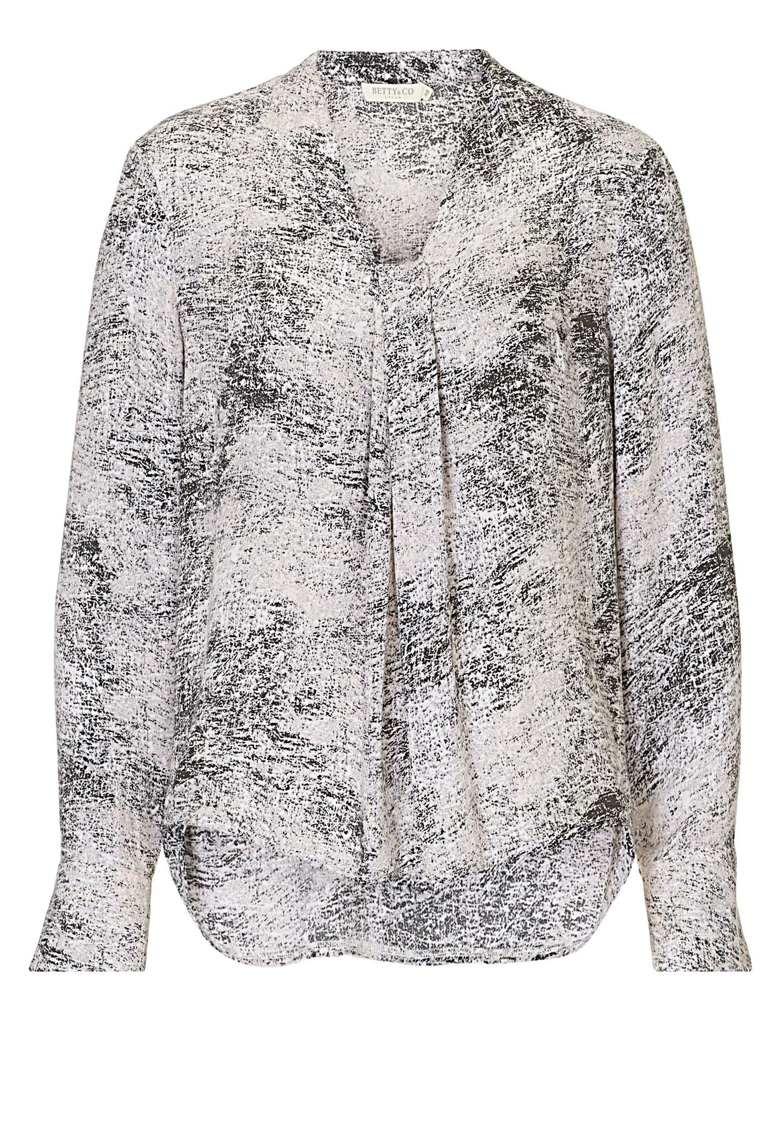 Betty & Co. Long sleeved marble print blouse, Grey