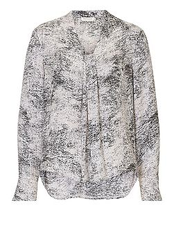Long sleeved marble print blouse