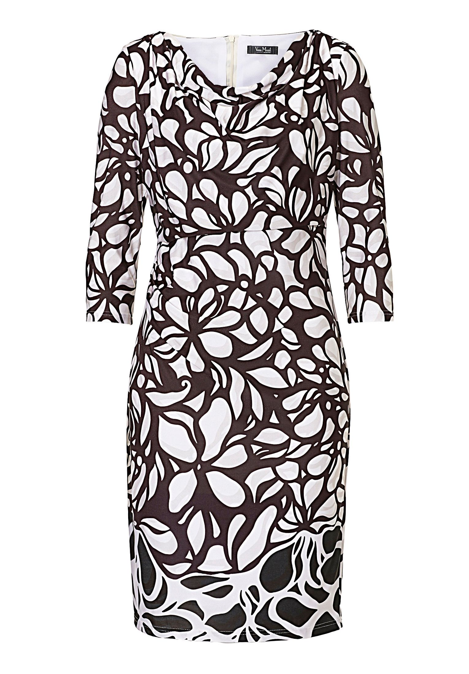 Vera Mont Cowl neck graphic print dress, Multi-Coloured