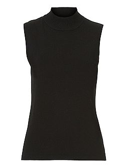 Sleeveless turtle neck jumper