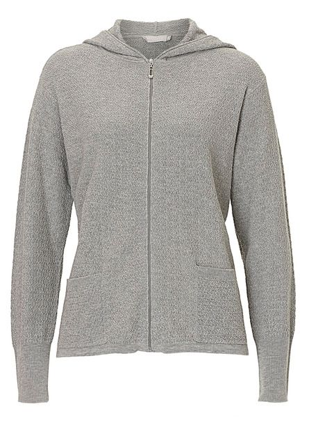 Betty Barclay Textured knit cardigan with hood Grey