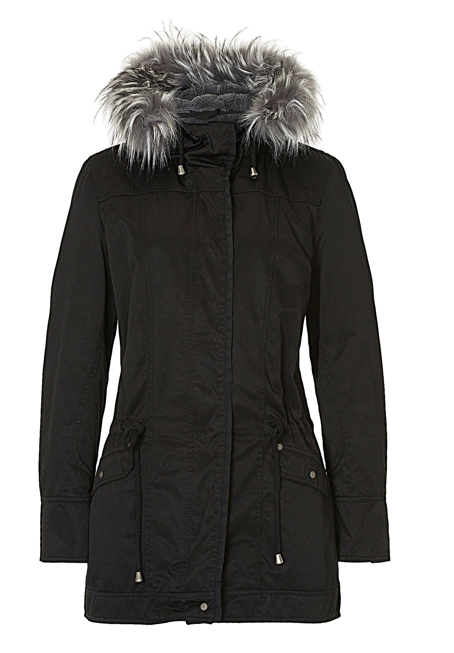 Betty & Co. Hooded jacket with faux fur trim, Black