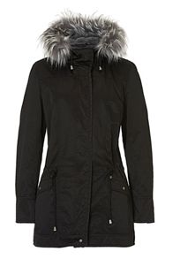 Betty & Co. Hooded jacket with faux fur trim