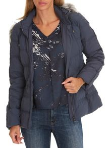 Betty Barclay Hooded jacket with faux fur trim