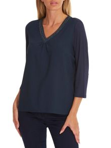Betty Barclay Embellished crêpe and jersey top