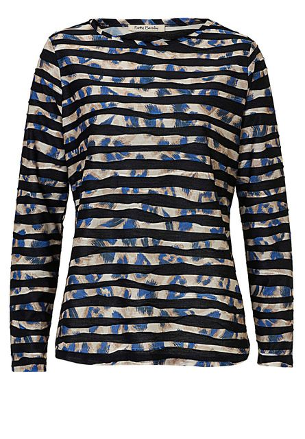 Betty Barclay Print and stripe top Blue