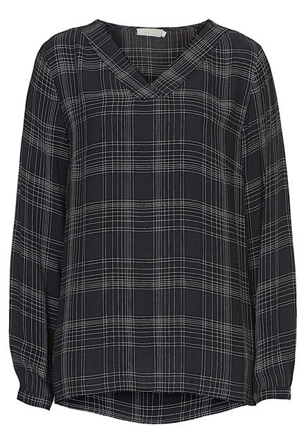 Betty Barclay V-neck check blouse, Blue