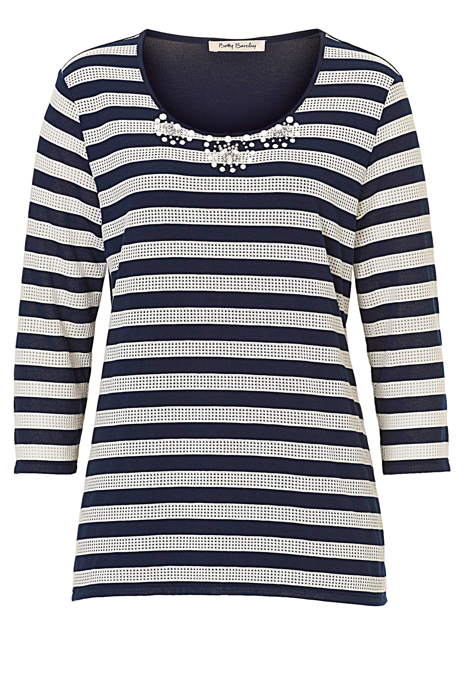 Betty Barclay Embellished striped top, Cream