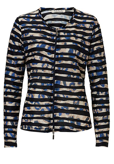 Betty Barclay Print and stripe cardigan Blue