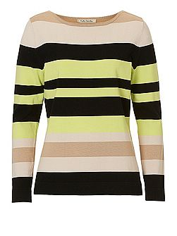 Striped fine knit top