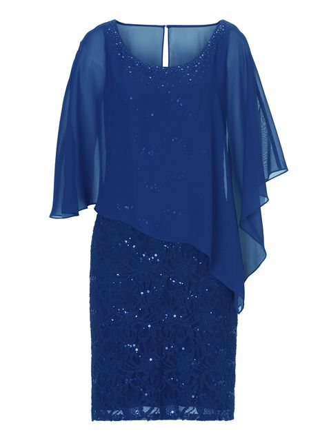 Vera Mont Chiffon and lace dress, Blue