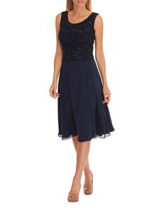 Vera Mont Lace layered midi dress