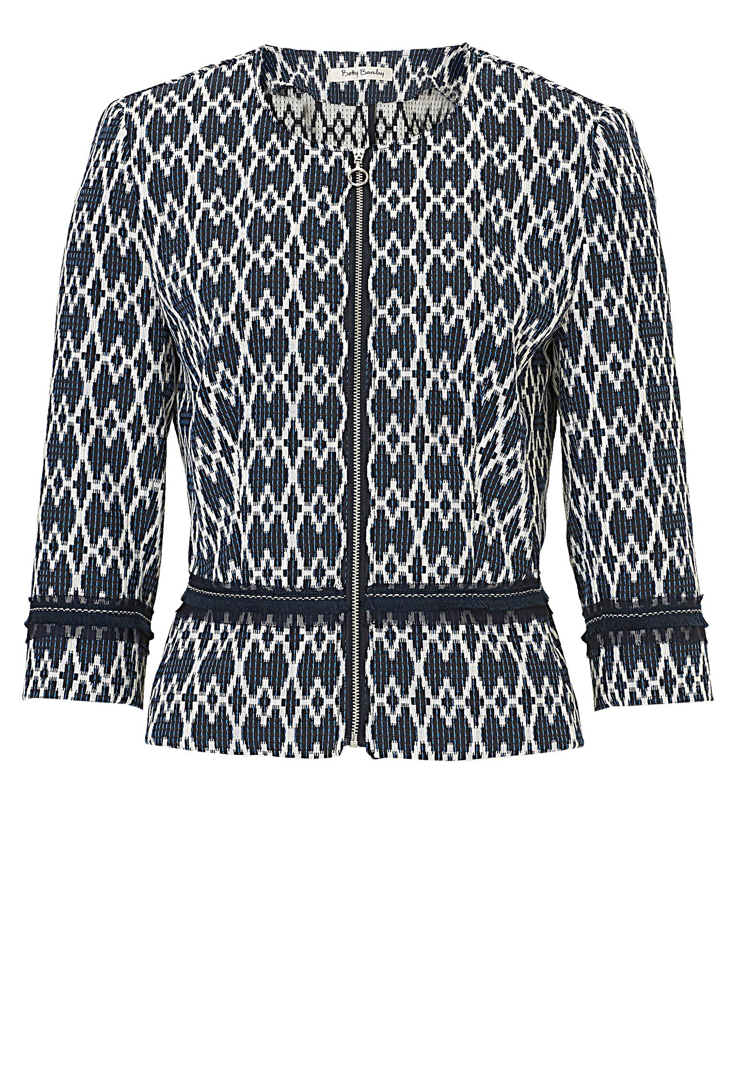 Betty Barclay Short textured jacket with zip, Cream