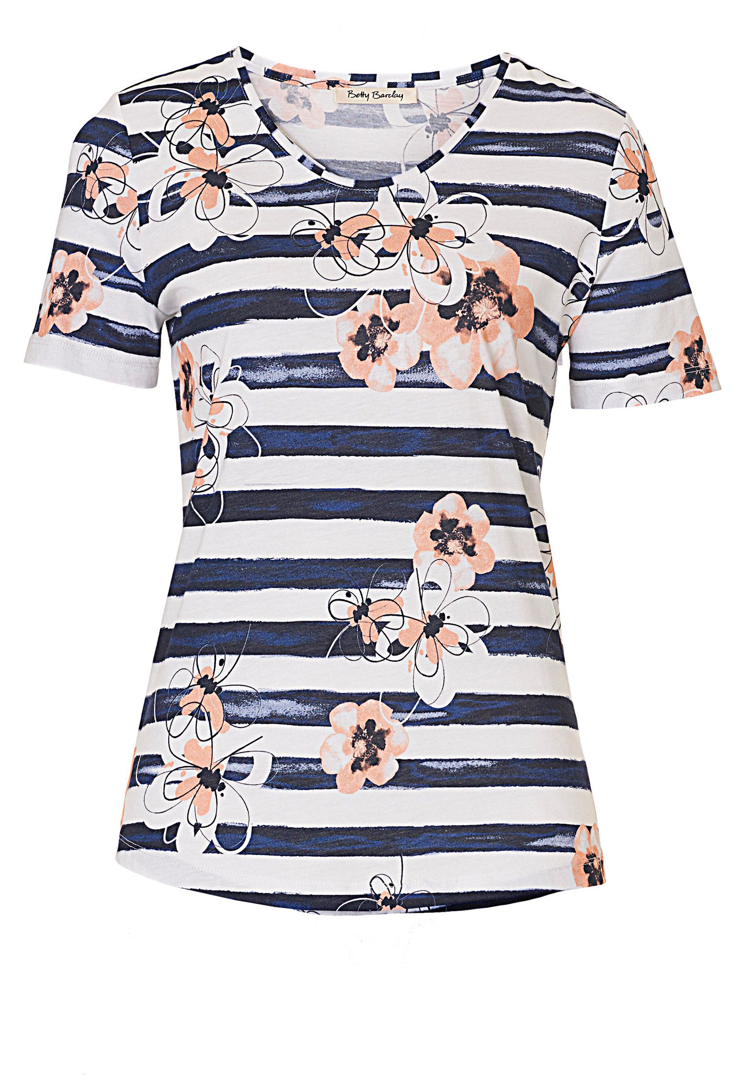 Betty Barclay Floral and stripe print T-shirt, Blue