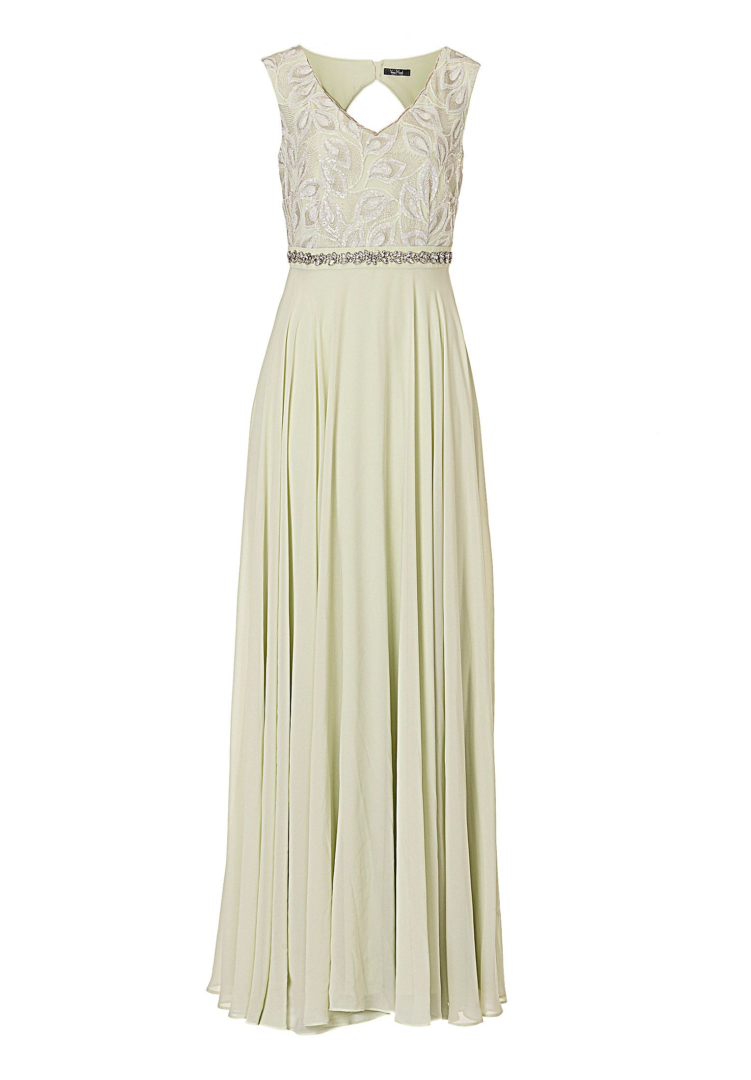 Vera Mont Chiffon and sequin gown, Green