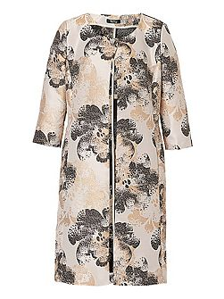 Printed satin dress coat