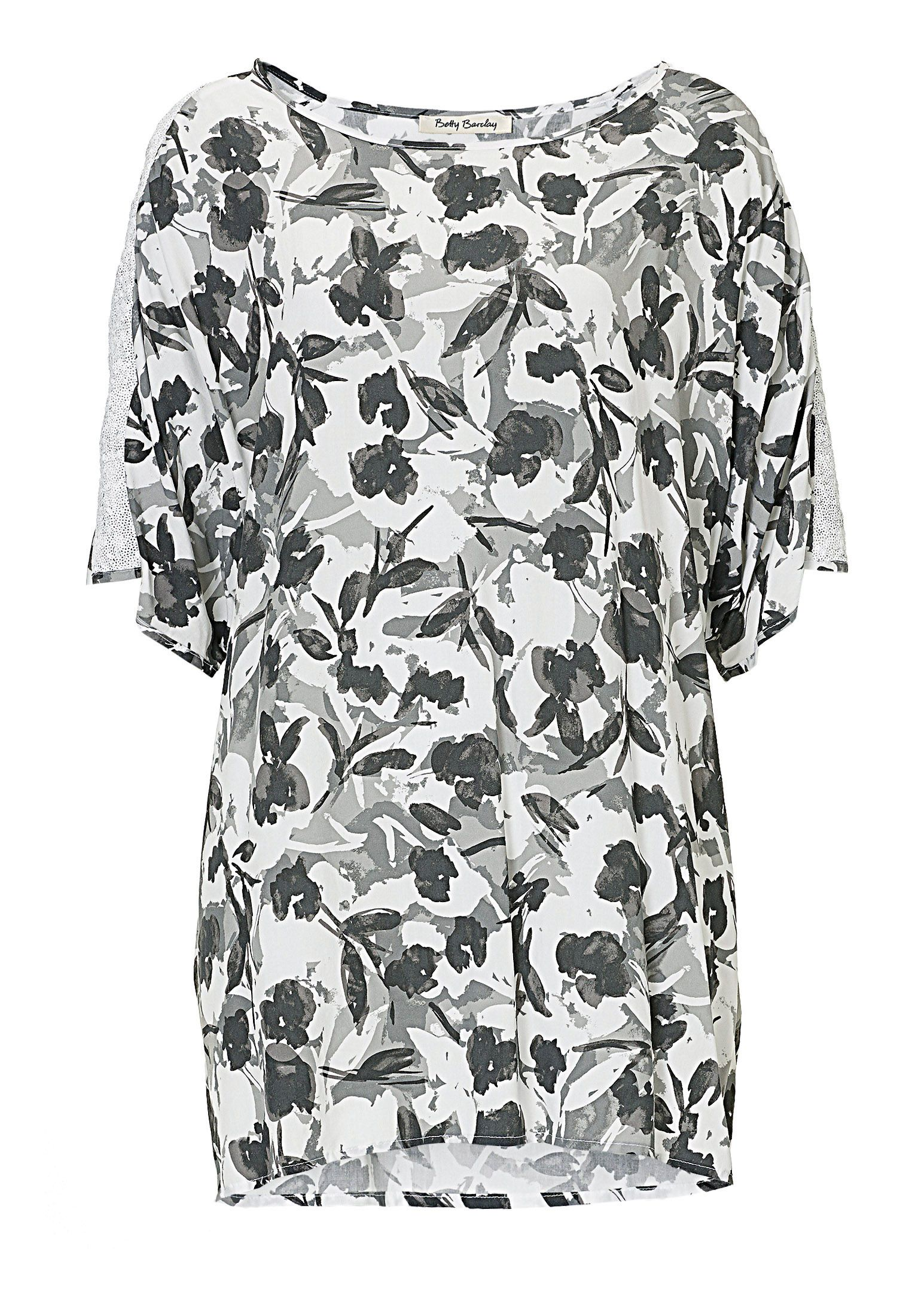 Betty Barclay Floral print tunic top, Grey