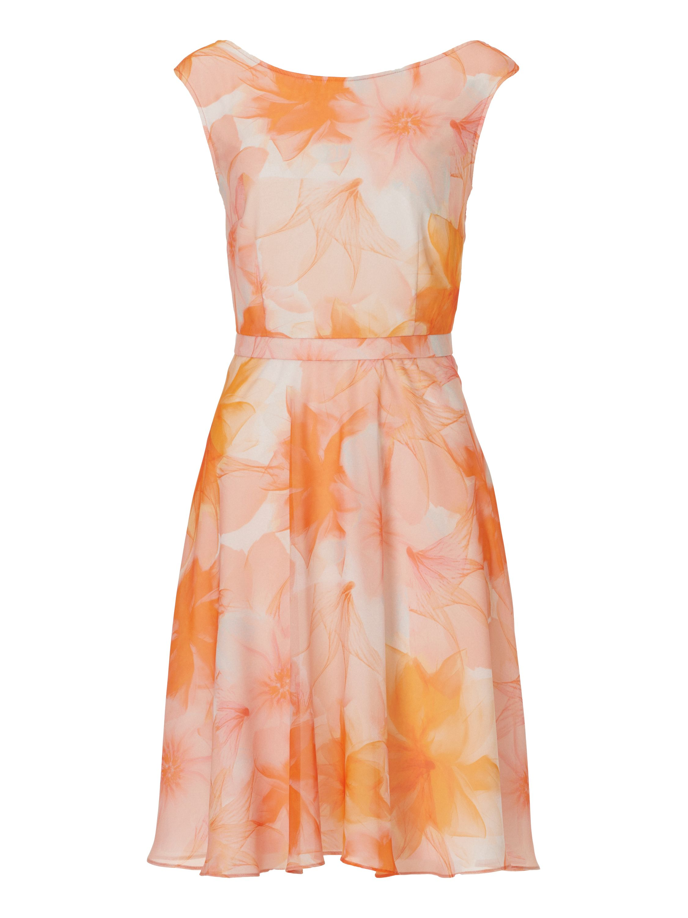 Vera Mont Floral print chiffon dress, Orange