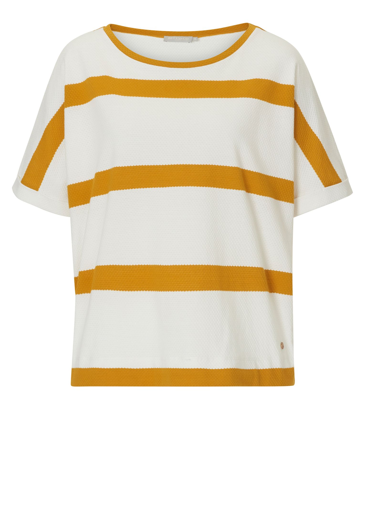 Betty & Co. Textured striped top, White