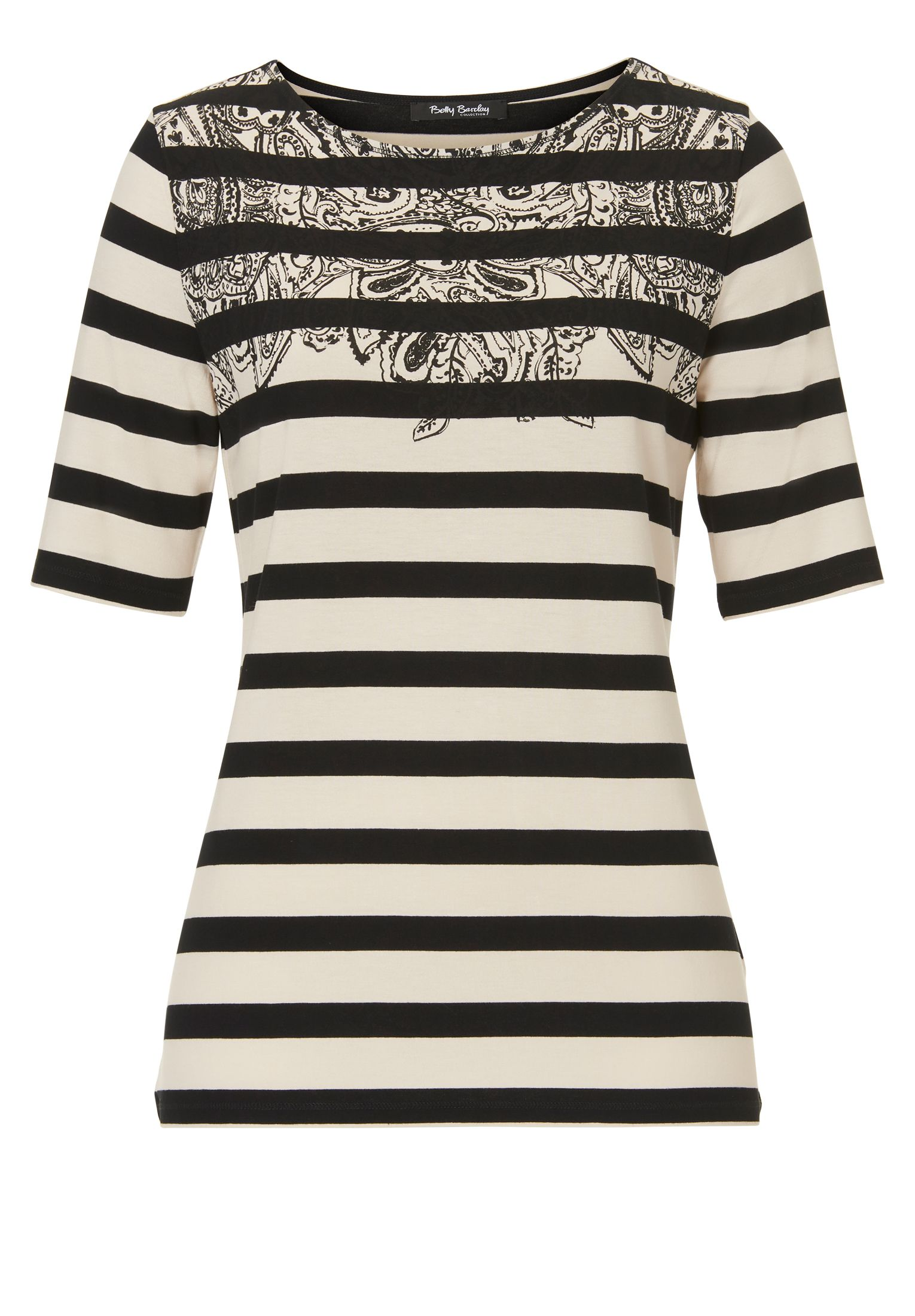 Betty Barclay Print and stripe T-shirt, Multi-Coloured