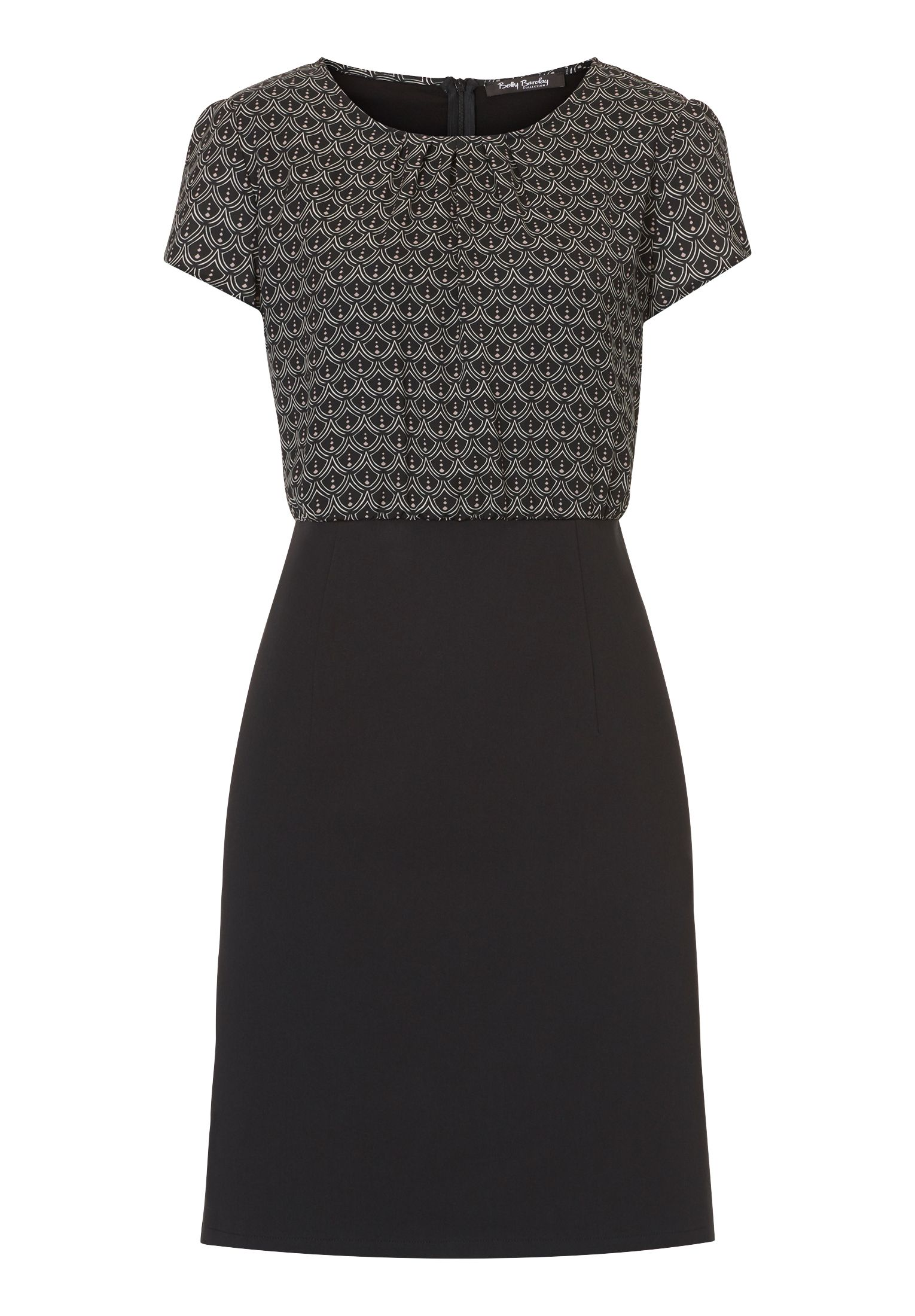Betty Barclay Print and plain dress, Black