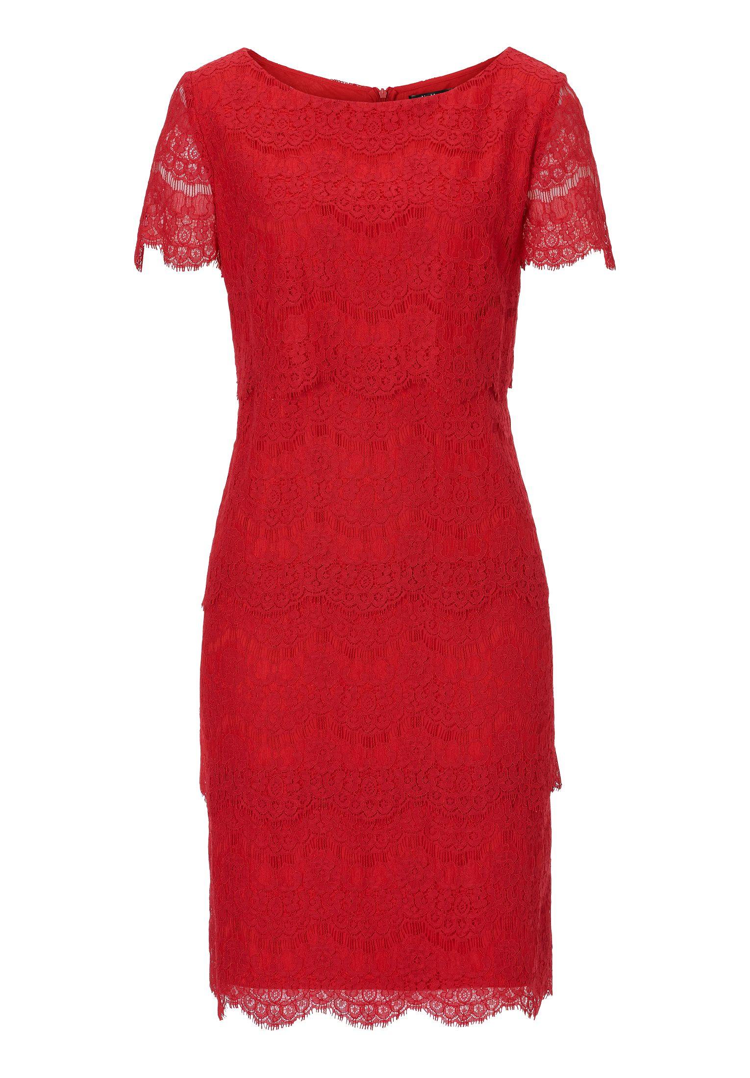 Vera Mont Short sleeved lace dress, Red