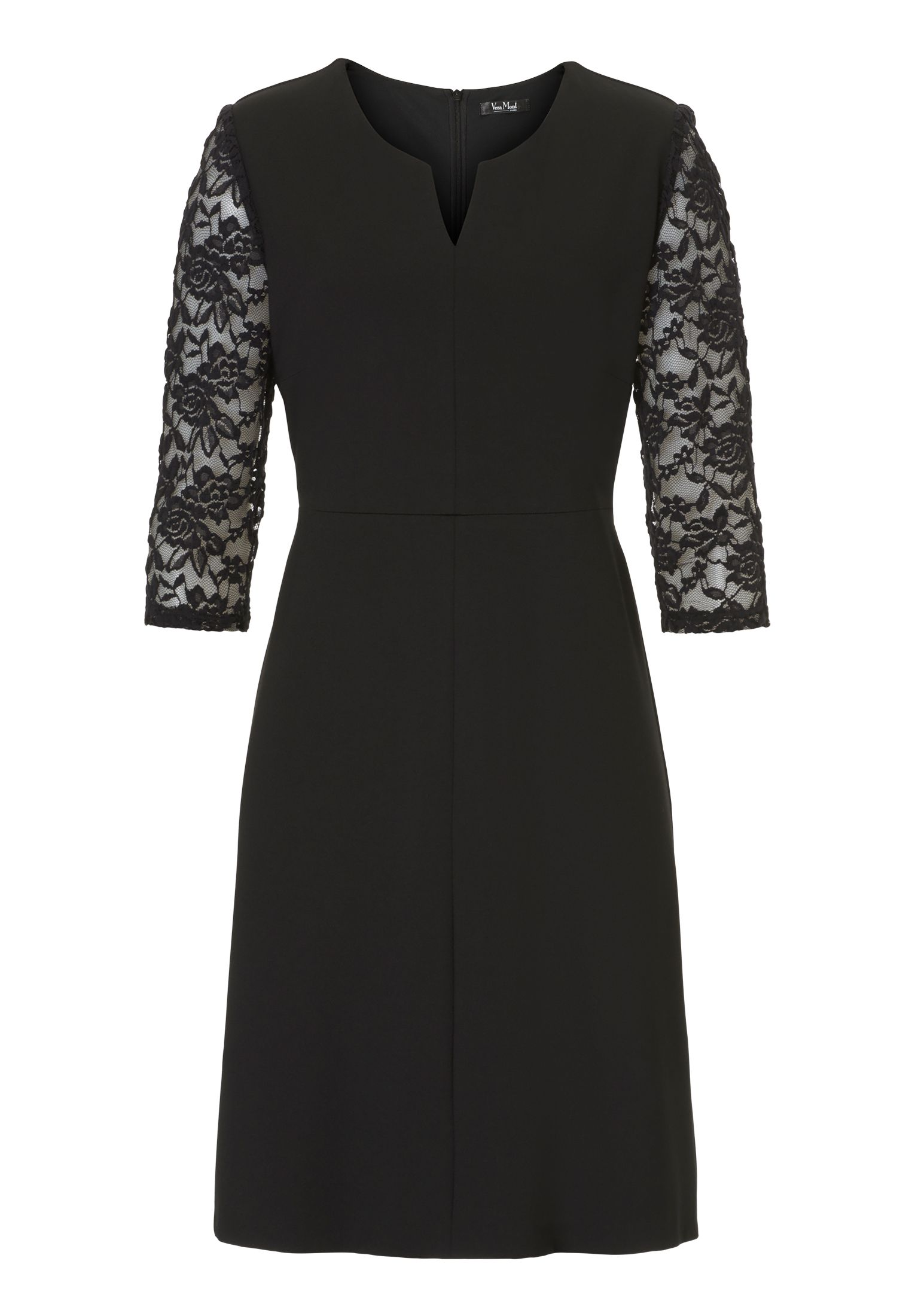 Vera Mont Jersey dress with lace sleeves, Jet