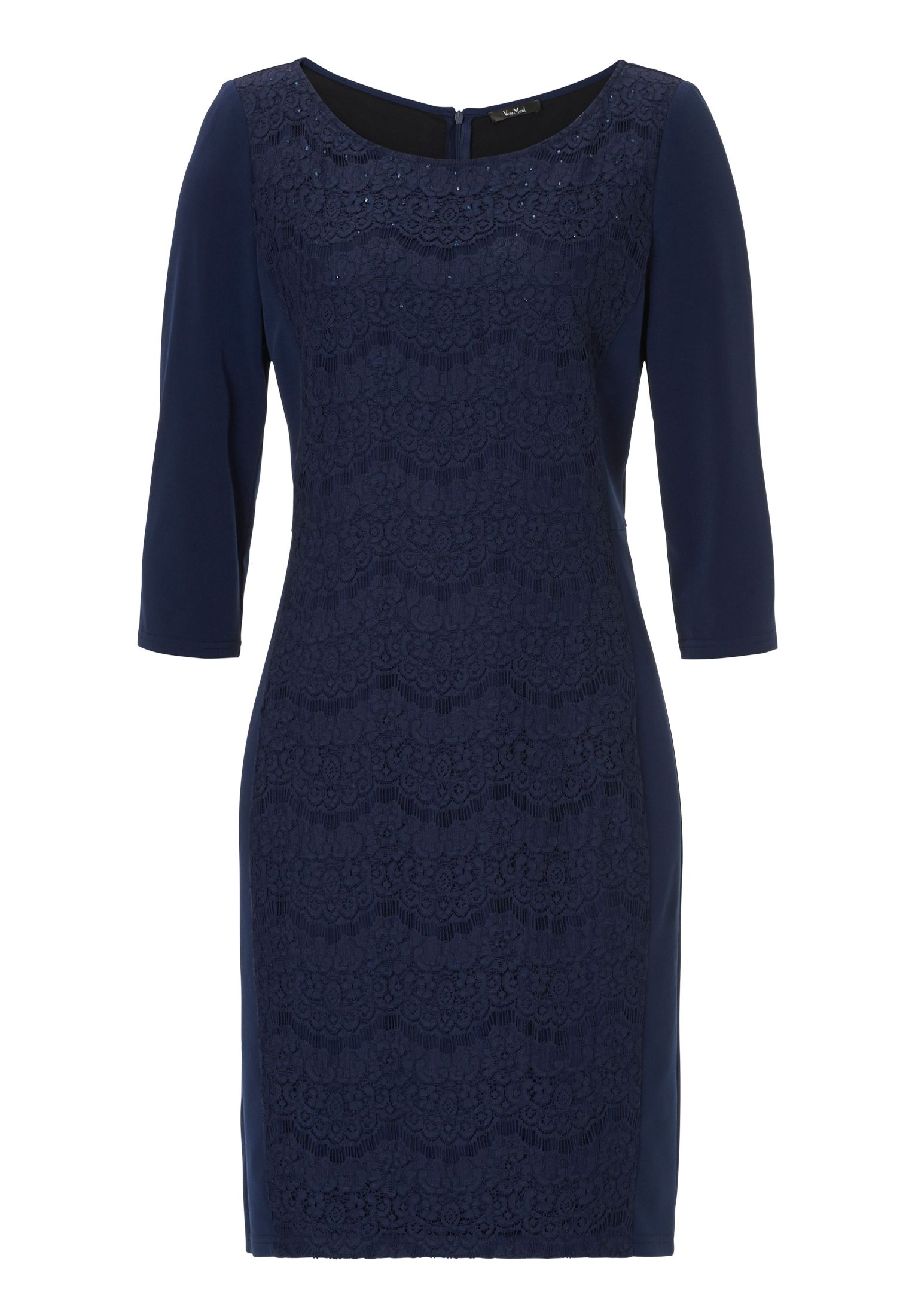 Vera Mont Lace and jersey dress, Blue
