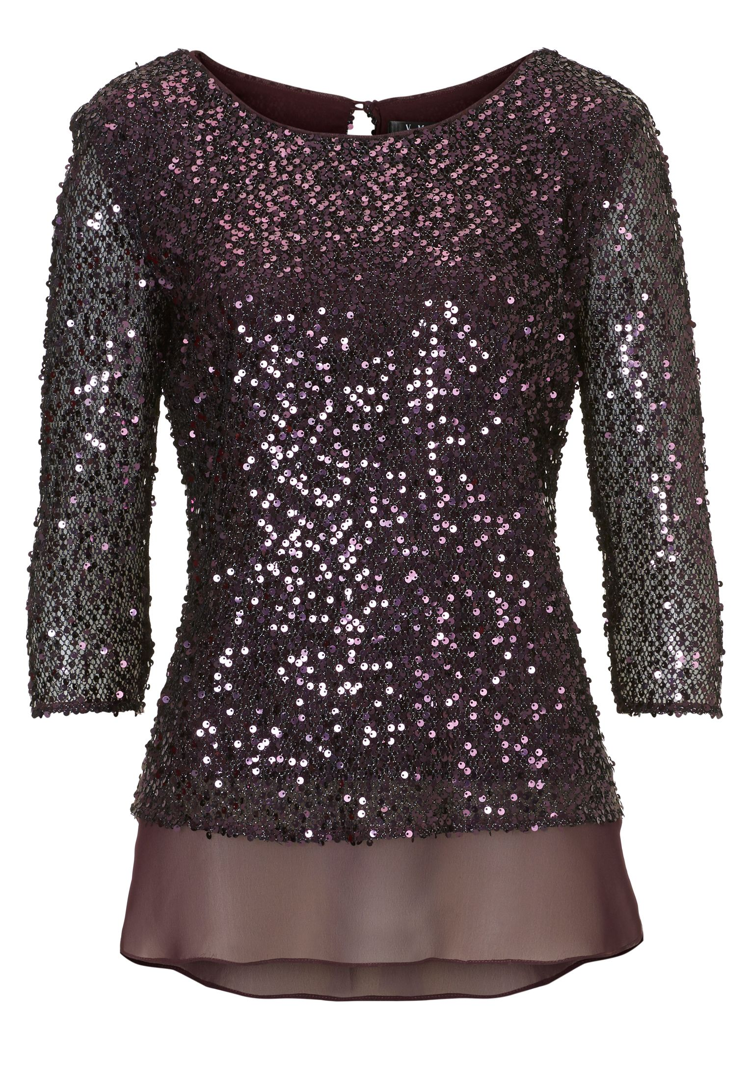 Vera Mont Sequin and chiffon layered top, Red