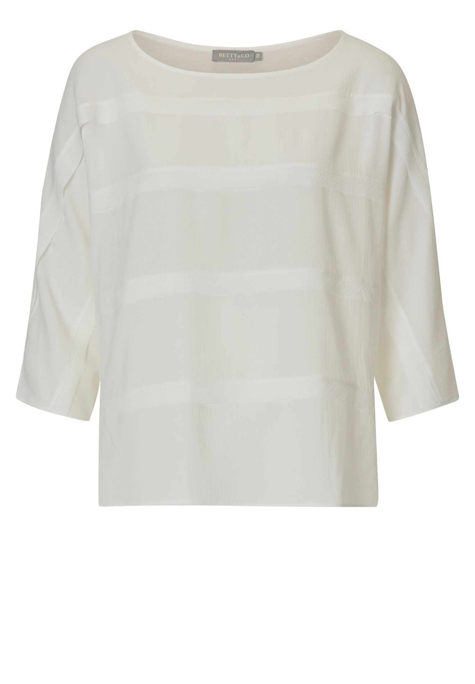 Betty & Co. Crêpe and jersey blouse, White