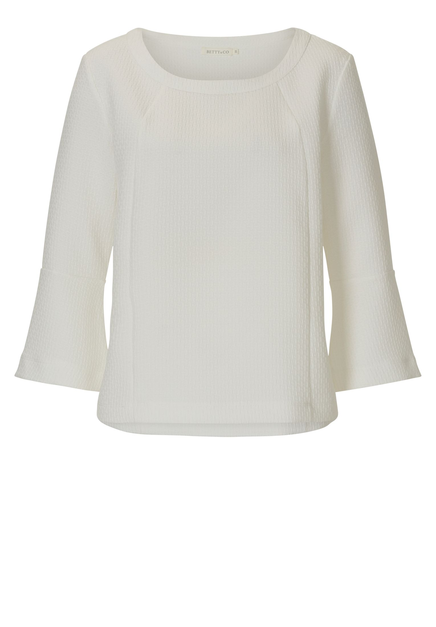 Betty & Co. Bell sleeved textured top, White
