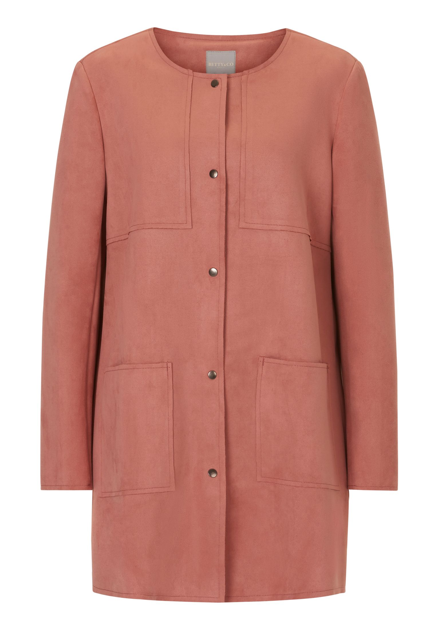 Betty & Co. Faux Suede Waterfall Jacket, Pink