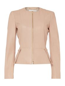 Hugo Boss Sasoon Zip Thru Peplum Leather Jacket