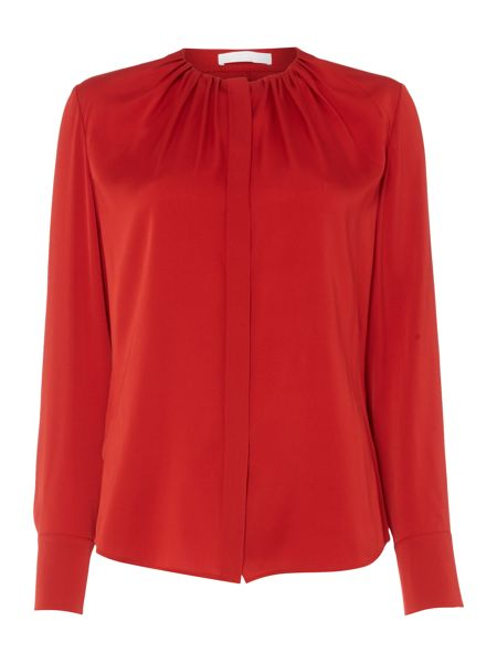 Hugo Boss Banora Silk Pleat Round Neck Blouse