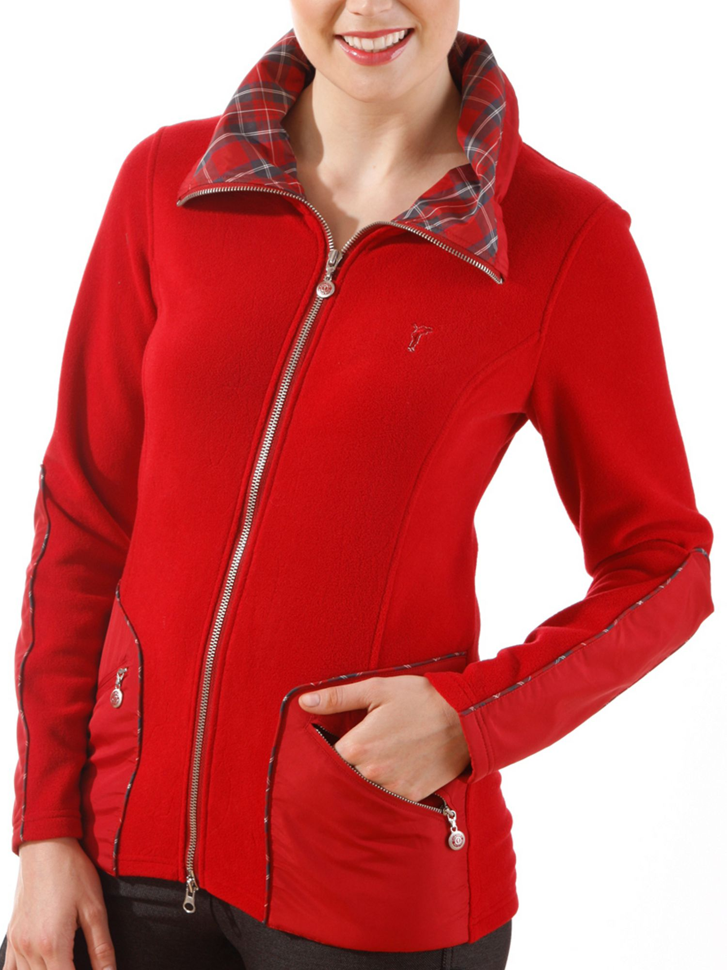 Fleece jacket with check details