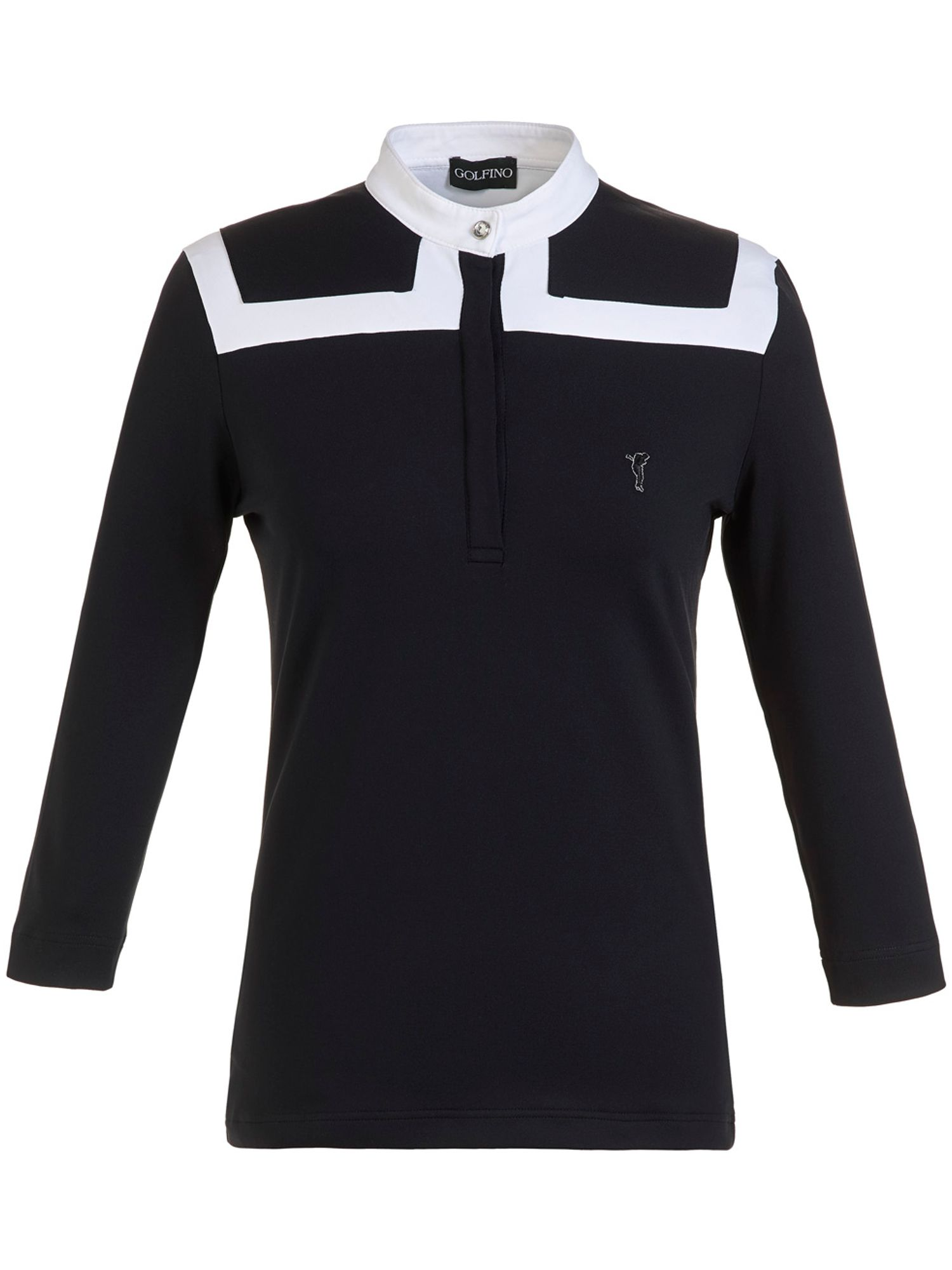 Golfino Golfino 3/4 Sleeve Mock Polo, Black
