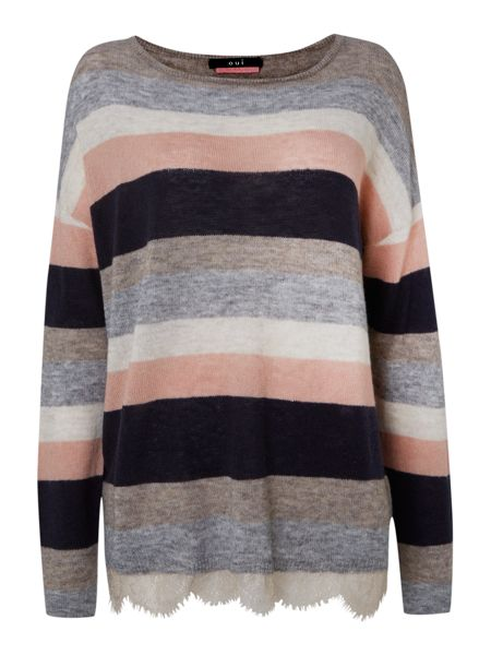 Oui Striped fine knitted top