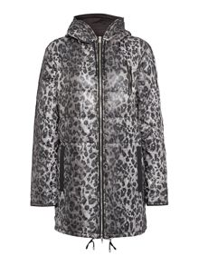 Leopard long padded coat