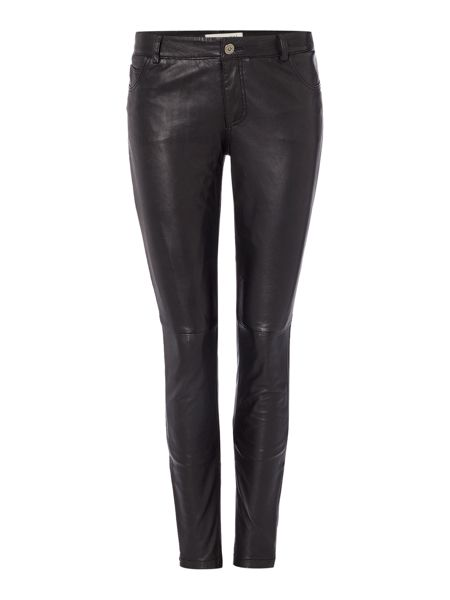 Oui Leather 5 pocket trouser