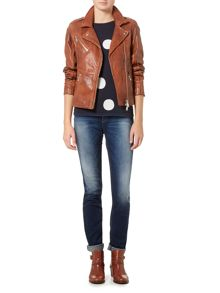 Oui Zip up leather jacket