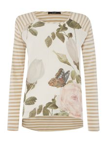 Oui Long sleeve rose front stripe top