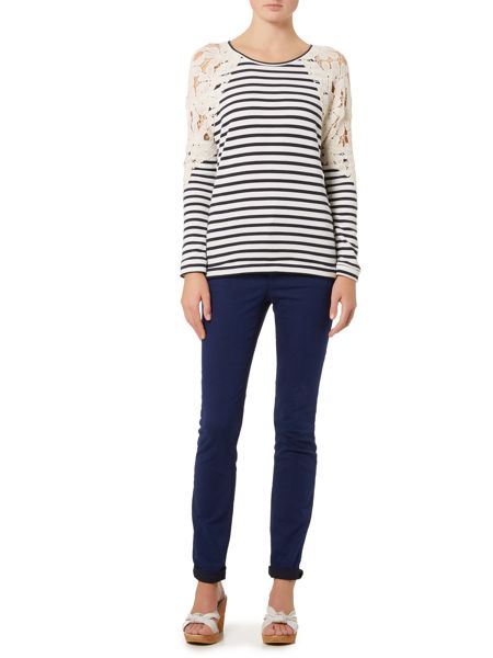 Oui Long sleeve stripe top with lace shoulder