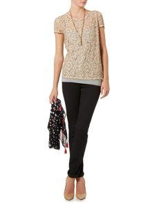 Oui Short sleeve lace top